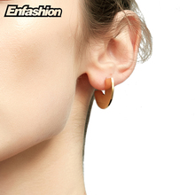 Enfashion Punk Geometic Semi-circle Fan Stud Earrings Gold color Ear Jacket Stainless Steel Earrings for Women Earings oorbellen(China)