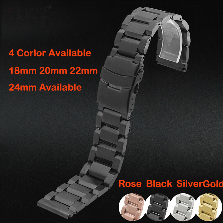 Watch band 22mm New Black Solid Stainless Steel Bracelet Watchbands Strap Bracelets Double Flip Lock Clasp Free Shipping<br><br>Aliexpress