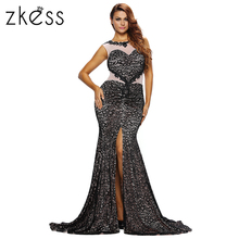 ZKESS Sequin Maxi Mermaid Dress Mesh Tank Top Sundress Women Fashion Slim Black Elegant Backless Formal New Arrival Gown LC61296