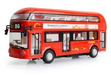 In Stock Sale  1:43 Mini  London Double-Decker Bus Car  Model  Toys Cars  Pull Back  Sound With Flashing  Can Open  Door