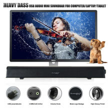 NEW PATENT HEAVY BASS USB SOUNDBAR SPEAKER USB DIGITAL AUDIO SOUND BAR ONE CABLE FOR POWER &AUDIO BEST FOR COMPUTER /SMALL TV