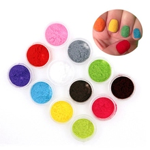 12PCS/Set!!! New Flocking Christmas Velvet Nail Glitter Powder Colorful Dust For DIY Nail Art Tips Decoration(China)