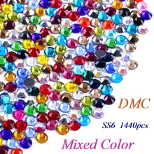 SS6 Mixed Color DMC Hotfix Rhinestone Glass Crystals Stones Hot Fix Iron-On FlatBack Rhinestones With Glue