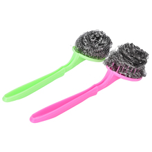 Home Wash Clean Tool Kitchen Pot Brush BBQ Cleaner Brushes Replaceable Pan Dish Grill Scrub Steel Wire Cleaning Ball Scourer(China)