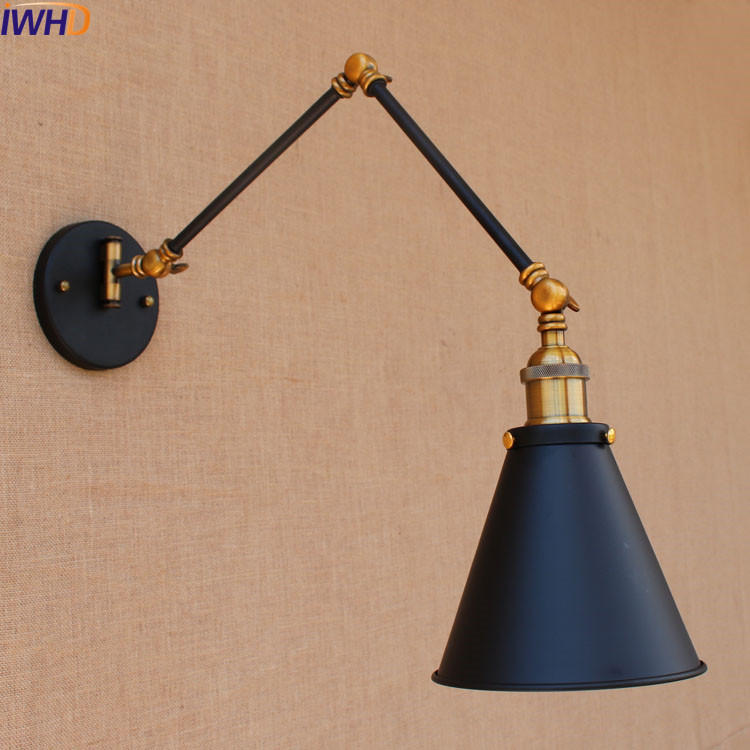 IWHD Swing Long Arm Wall Light LED Lampen Dinning Room Loft Style  Industrial Vintage Wall Lamp