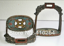 $Nice Discount$ China red Copper Cloisonne Coin shape dragon carving stirrup horse saddle