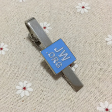 10pcs wholesale nickel plated tacks for men metal craft gift Jw.org religious tie bar clips blue enamel square