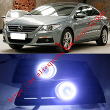 2x LED Daytime Running Lights DRL Projector Lens Fog lights + Angel Eyes Kits For VW Passat CC 2009-2012