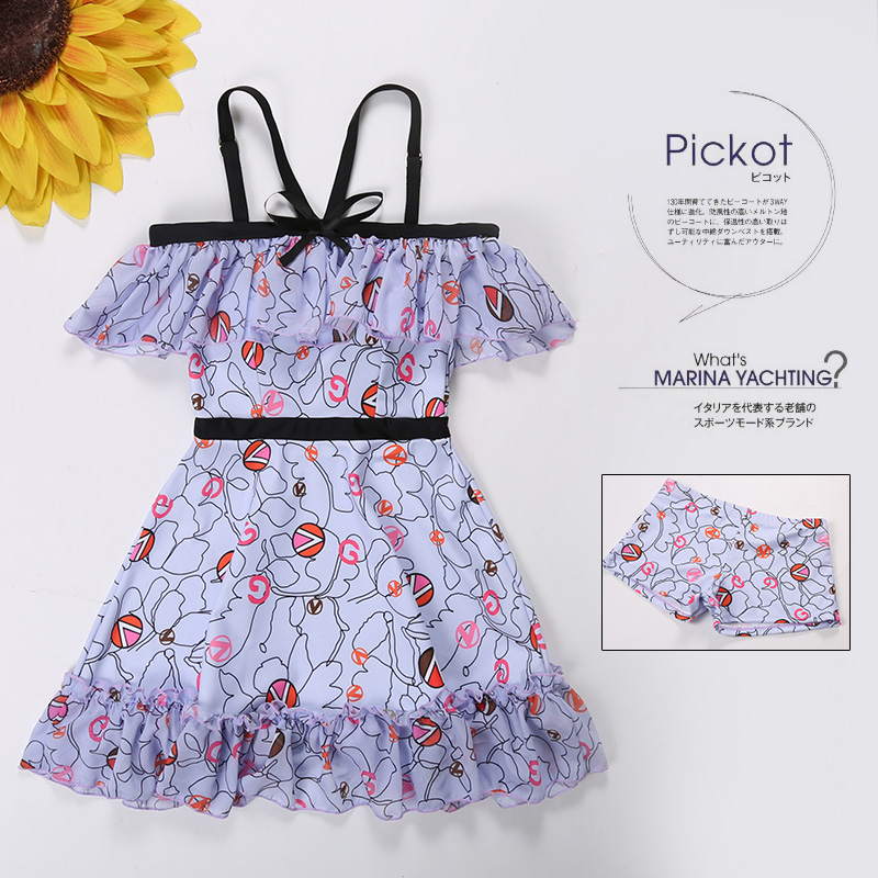 Floral One-piece Swimsuit Skirt Style Small Chest Gather Together Swimsuit Woman Dress 2018 Sexy Hot Spring Swimsuits<br>