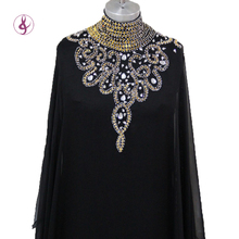 LS049 Arabi Cabaya Dubai Kaftan Black Arrival Muslim Dress Poet Long Sleeve With Beaded Chiffon Evening Dresses