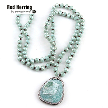 Free Shipping Fashion Blue /Pink Long Crystal Glass Knotted Natural Stone Drop Pendant Necklaces For Bohemian Tribal Jewelry(China)