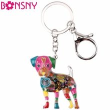 Bonsny Enamel Jack Russell Dog Key Chain Key Ring Pom Gift For Women Girl Bag Pendant 2017 Charm Keychain Fashion Animal Jewelry(China)