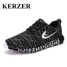 KERZER Running Shoes For Men 2017 Spring/Summer Sport Shoes Black Red Athletic Sneakers Light Sport Trainers Cheap Mens Runners