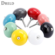 DRELD 8Pcs Round Door Knobs Furniture Handle Ceramic Drawer Cabinet Knobs and Handle Cupboard Pull Handle Kitchen Accessories