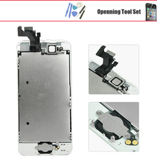 For iphone 5 5g 5s 5c se lcd display touch screen with digitizer home button front camera speaker assembly  + gift