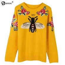 JOYDU 2018 New Runway Wool Winter Women Sweater Bee Flower Embroidery  Luxury Yellow Knitted Sweater Vintage Warm Jumper Pullover 98d699e08751
