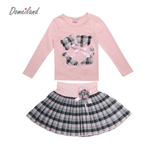 2017 Fashion Spring domeiland Outfits Sets For 2 Pcs Kids Girl Long Sleeve Cotton Shirts Tops + Plaid Tutu Skirts With Bow Sets