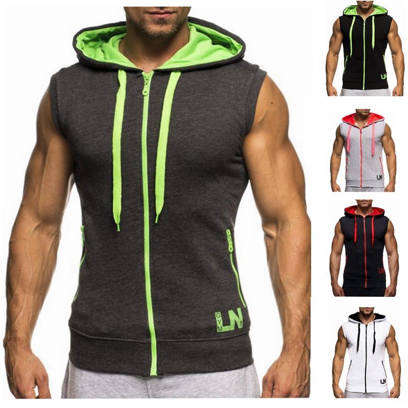Male Bodybuilding Hoodies Fitness Clothes Hoody Cotton Hoodie Men Sweatshirts Men's Sleeveless Tank Tops Casual Vest 6