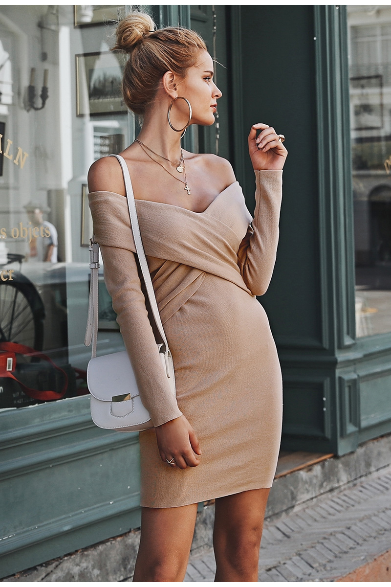 Off shoulder Criss Cross knitted sweater dress V neck bodycon