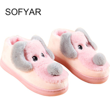 new cotton slippers manufacturers selling thickening flocking cotton shoes cartoon winter warm antiskid couples cotton shoes