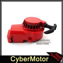 Red Alloy Pull Starter Recoil For 2 Stroke 47cc 49cc Engine Minimoto Pocket Bike Mini Moto Dirt Kids ATV Quad Crosser 4 Wheeler