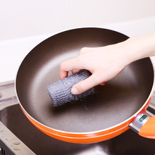 12Pcs/lot Sponge Metal Scouring Pads Super Detergent Tool Kitchen Steel Degreasing Cleaning Tool Pot Brush VBL60 P10 0.15