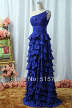 Elegant Sheath One Shoulder Tiered Floor Length Blue Chiffon Cheap Formal Gown Long Prom Evening Dresses Free Shipping