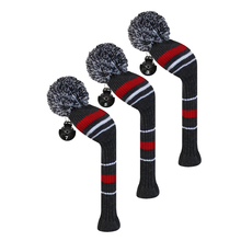 Golf Fairway Woods Club Head Covers, Warning Stripes, Acrylic Yarn Double-Layers Knitted, with Rotatable Number Tags
