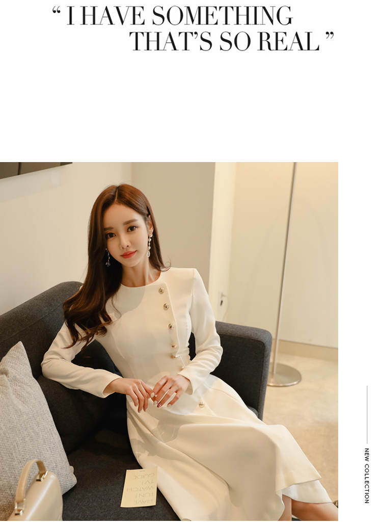 Elegant Dress Women Casual Long Sleeve Dress Office Lady Runway Designers High Fashion Dress 17