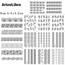 AriesLibra Decal Sticker Black Lace Flower Designs Paper Minx Nail Foil Stickers Nail Art Water Decals Beauty Decoration Tool