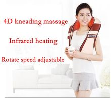 4D Infrared kneading massager U shape Electrical Shiatsu Back Neck Shoulder Body Massager massage cervical device(China)