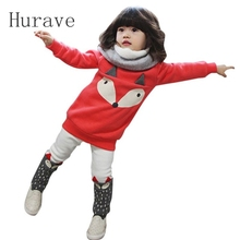 Hurave autumn baby girl clothing suit warm kids clothes fox top +pants long-sleeve shirts lovely girls clothing thick 2pcs sets(China)