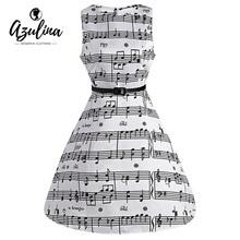 Buy AZULINA Music Note Print Musical Women Vintage Midi Dress Sleeveless O Neck Female Casual Swing Retro Dresses Vestido Robe Femme for $11.30 in AliExpress store