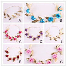 2017 New Gold Leaf Flower Hairbands Crown Rose Flowers Skinny Elastic Valentines Headwear Girl Headband Hair Accessories
