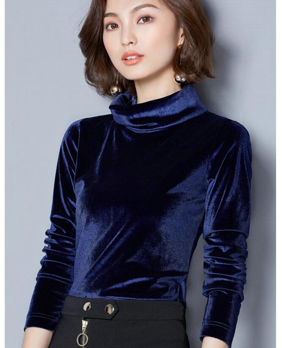 WANXIANGYUAN Women Long Sleeve Blouse 2017 Autumn Fashion Turtleneck Shirt Women Ladies Velvet Warm Blouses Shirts for Women 11