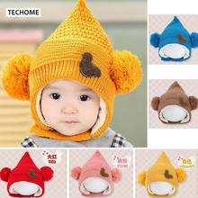 Autumn Winter Ear Protection Baby Hats For Baby Girls Boys Soft Plush Knitted Hat For 3-18 months Toddle Infant Outdoor Caps