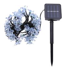 7M 50 LEDs Peach Blossom Solar Power Led String Fairy light Peach Flower Decorative Christmas Indoor Outdoor Garden Decoration(China)