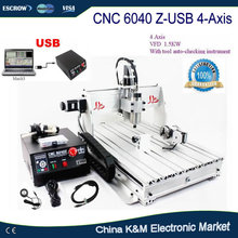 Free shipping CNC 6040 Z-USB 4 axis with USB port woodworking metal engraving machine PCB drilling router Mach3 auto control(China)