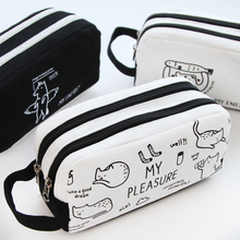 Black White Big Capacity Cartoon Cute Bear Rabbit Horse Cat Pencil Case Canvas School Pen Stationery Storage Bag for Girls Boys(China)