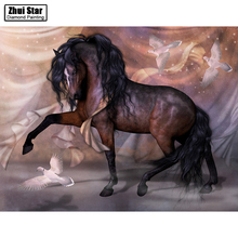 "Full Drill Square Diamond 5D DIY Diamond Painting""Brown horse""Diamond Embroidery Cross Stitch Rhinestone Mosaic Painting"
