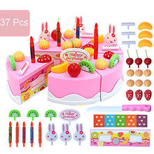 37Pcs Pink Blue Birthday Cake Toy DIY Fruit Cream Decor Set Children Kids Play Models BuildingToys(China)