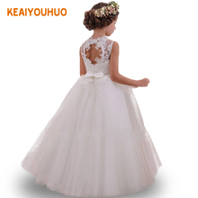 White Summer Dress Flower Girl Dresses With Bow Beading Lace Up Applique Ball Gown First Communion Dress for Girls Vestido