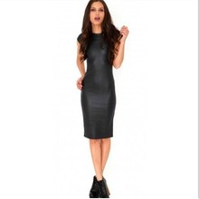 Summer midi dresses bodycon hot selling products online 2017 europe fashion black faux leather dress sexy women clothing H1111