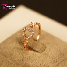 2017 Promotion Brand High-grade Fine Key Love Cz Rose Gold Jewelry Kelvin Mouth Adjustable For Rings Women Valentine's Gift(China)