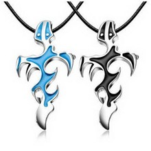Men Jewelry Cross & Sword Necklaces Pendants Black Blue flame courage overbearing Evil necklace H6897 P30.