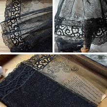 1 Meter 23CM Width High Embroidery Glitter Guipure Trim Design Embroidered Black Lace Fabric Tulle Lace French Lace