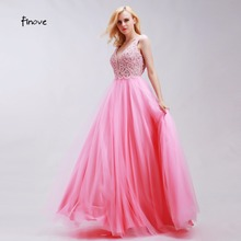 Finove Romantic Pink Homecoming Dresses Gowns Sexy V-Neck Elegant Tulle with Beading A-Line Sleeveless Backless Long Party Gowns(China)