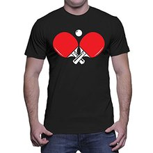 Newest 2017 men's fashion Men's Crossed Ping Pong Paddles T-shirt Letter T Shirt men Casual T-shirt Custom