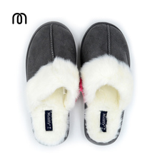 Millffy Nordic Faux Trim rabbit fur slippers womens shoes faux fur slippers Memory foam slippers eva slipper womens suede shoe(China)