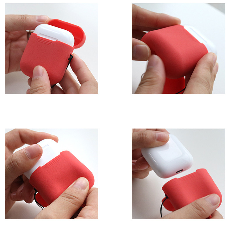 DOITOP Shockproof Cases With Anti-lost Rope Hook Tough Case For Airpods Matte Soft Silicone Protector Case Headphone Accessories